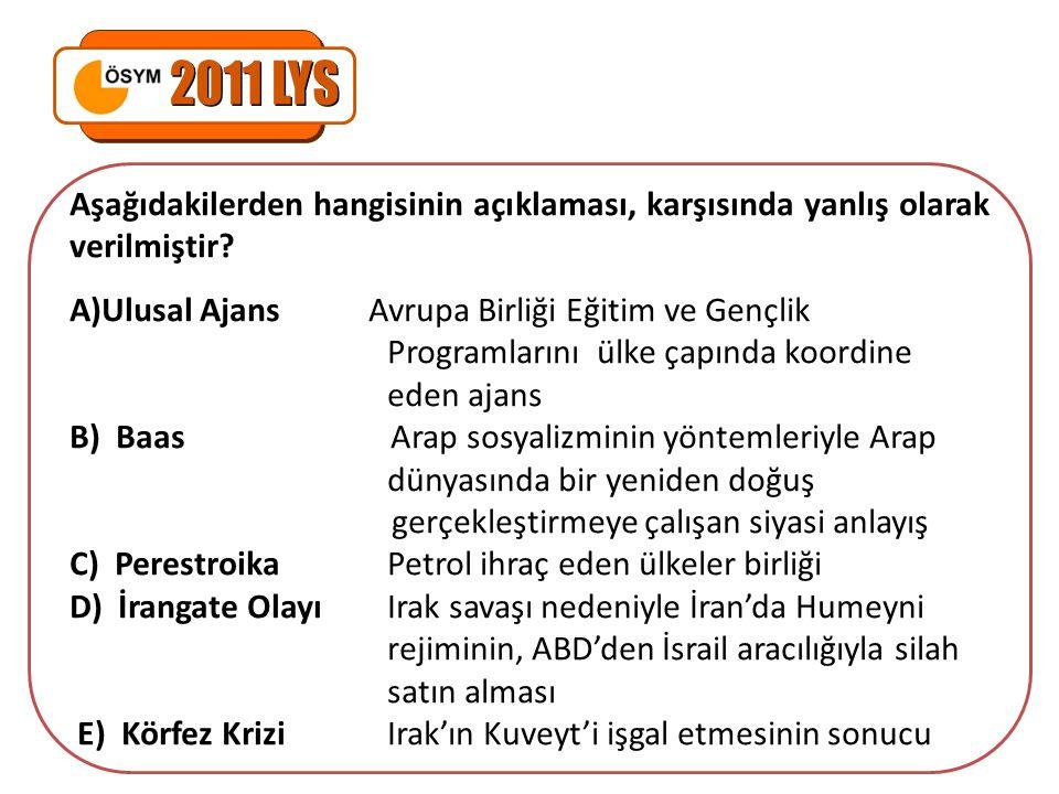 2011 LYS Aşağıdakilerden hangisinin açıklaması, karşısında yanlış olarak verilmiştir