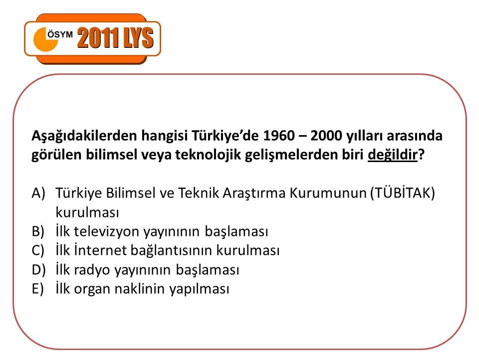 2011 LYS Aşağıdakilerden hangisi Türkiye'de 1960 – 2000 yılları arasında görülen bilimsel veya teknolojik gelişmelerden biri değildir