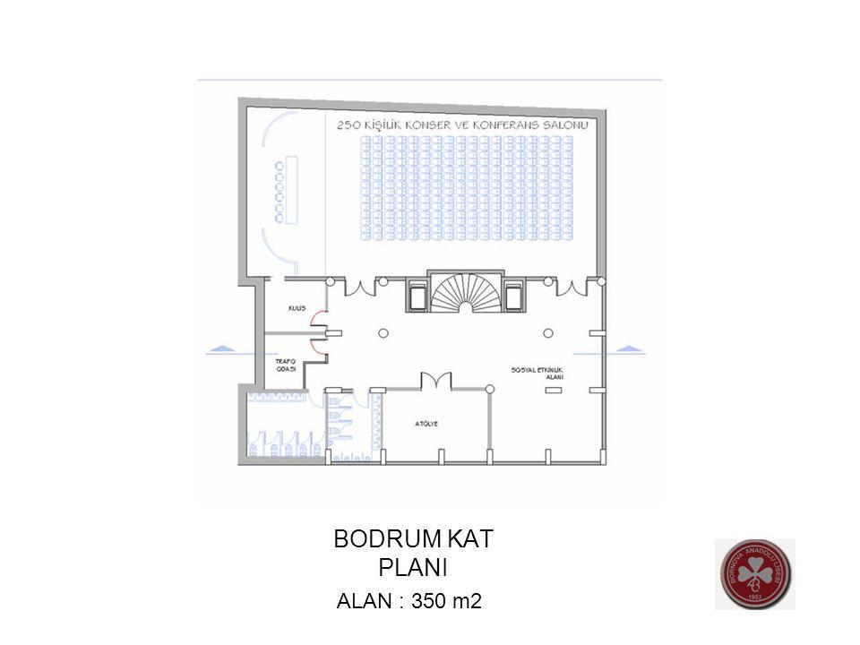 BODRUM KAT PLANI ALAN : 350 m2
