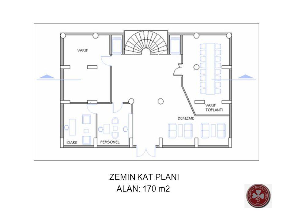 ZEMİN KAT PLANI ALAN: 170 m2