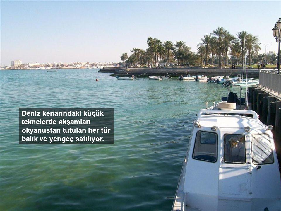 Deniz kenarındaki küçük teknelerde akşamları okyanustan tutulan her tür balık ve yengeç satılıyor.