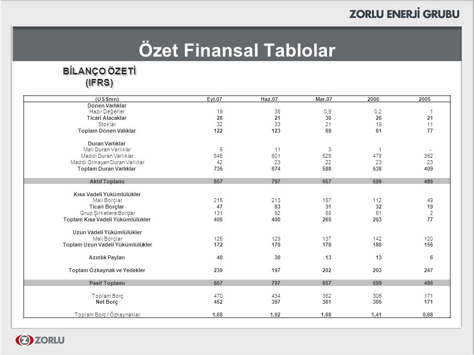 Özet Finansal Tablolar