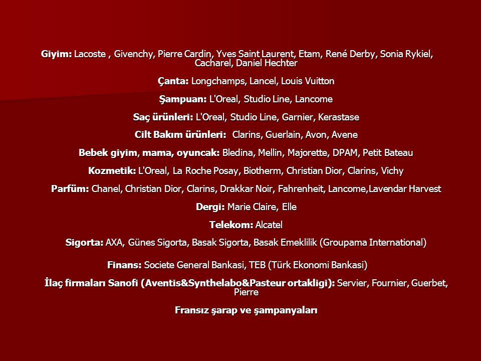 Giyim: Lacoste , Givenchy, Pierre Cardin, Yves Saint Laurent, Etam, René Derby, Sonia Rykiel, Cacharel, Daniel Hechter Çanta: Longchamps, Lancel, Louis Vuitton Şampuan: L Oreal, Studio Line, Lancome Saç ürünleri: L Oreal, Studio Line, Garnier, Kerastase Cilt Bakım ürünleri: Clarins, Guerlain, Avon, Avene Bebek giyim, mama, oyuncak: Bledina, Mellin, Majorette, DPAM, Petit Bateau Kozmetik: L Oreal, La Roche Posay, Biotherm, Christian Dior, Clarins, Vichy Parfüm: Chanel, Christian Dior, Clarins, Drakkar Noir, Fahrenheit, Lancome,Lavendar Harvest Dergi: Marie Claire, Elle Telekom: Alcatel Sigorta: AXA, Günes Sigorta, Basak Sigorta, Basak Emeklilik (Groupama International)