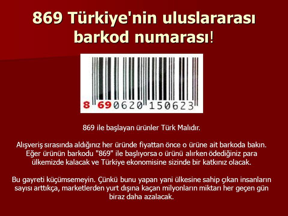 869 Türkiye nin uluslararası barkod numarası!