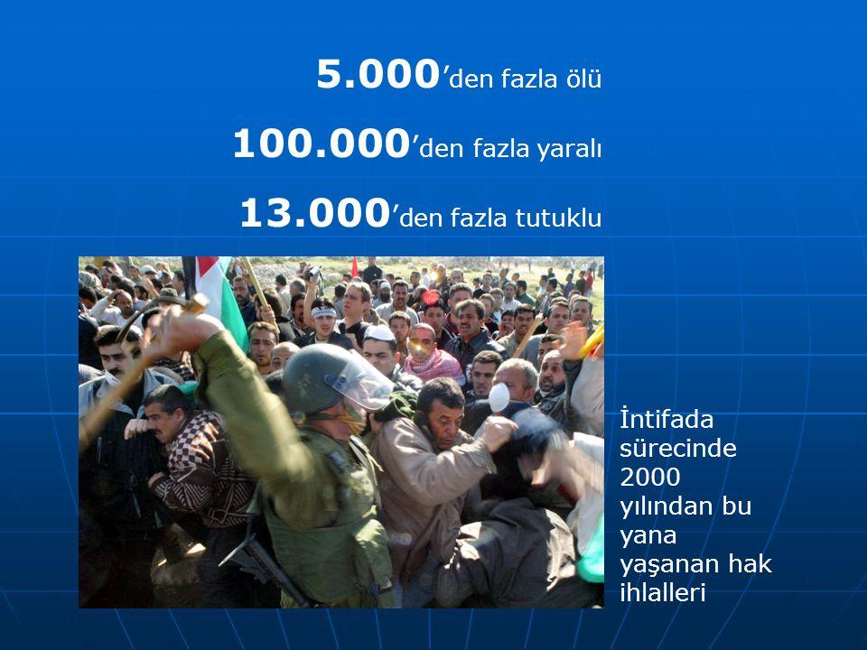 5.000'den fazla ölü 100.000'den fazla yaralı 13.000'den fazla tutuklu