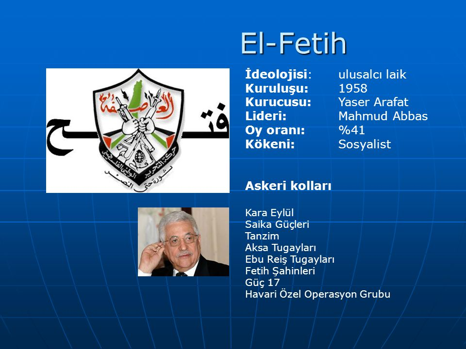 El-Fetih İdeolojisi: ulusalcı laik Kuruluşu: 1958