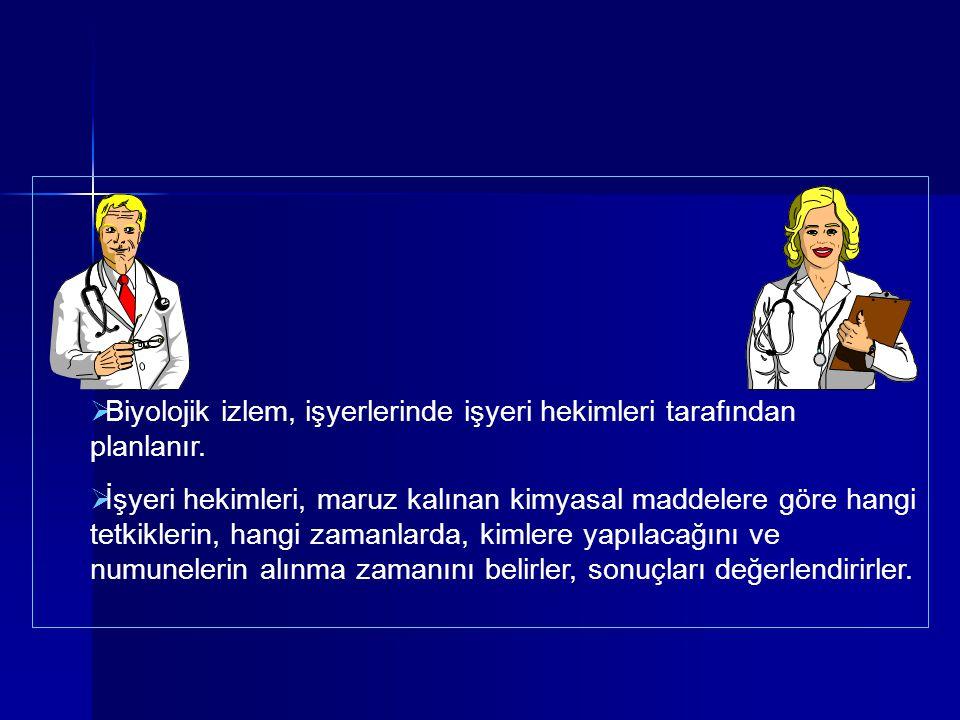 Biyolojik izlem, işyerlerinde işyeri hekimleri tarafından planlanır.