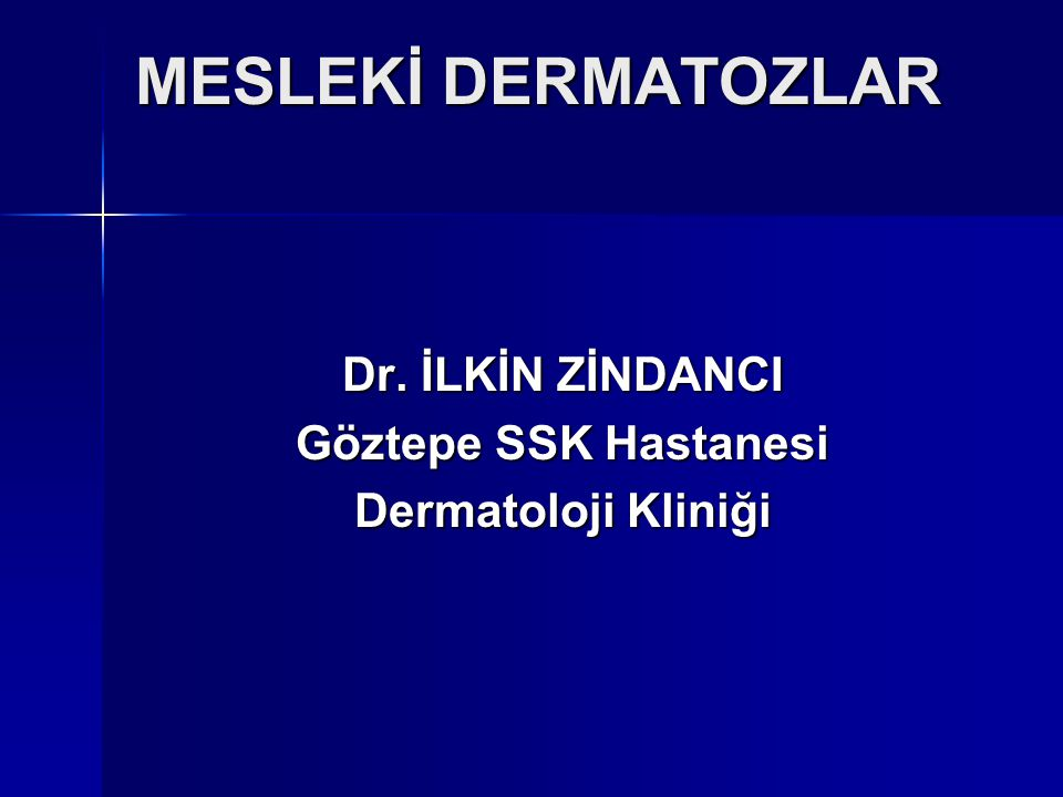 MESLEKİ DERMATOZLAR Dr. İLKİN ZİNDANCI Göztepe SSK Hastanesi
