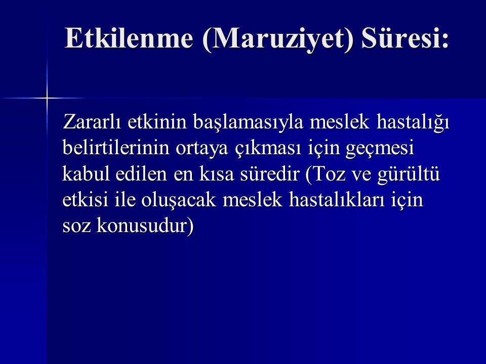 Etkilenme (Maruziyet) Süresi: