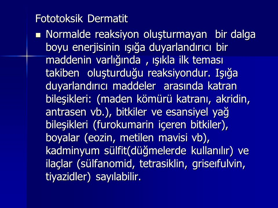Fototoksik Dermatit