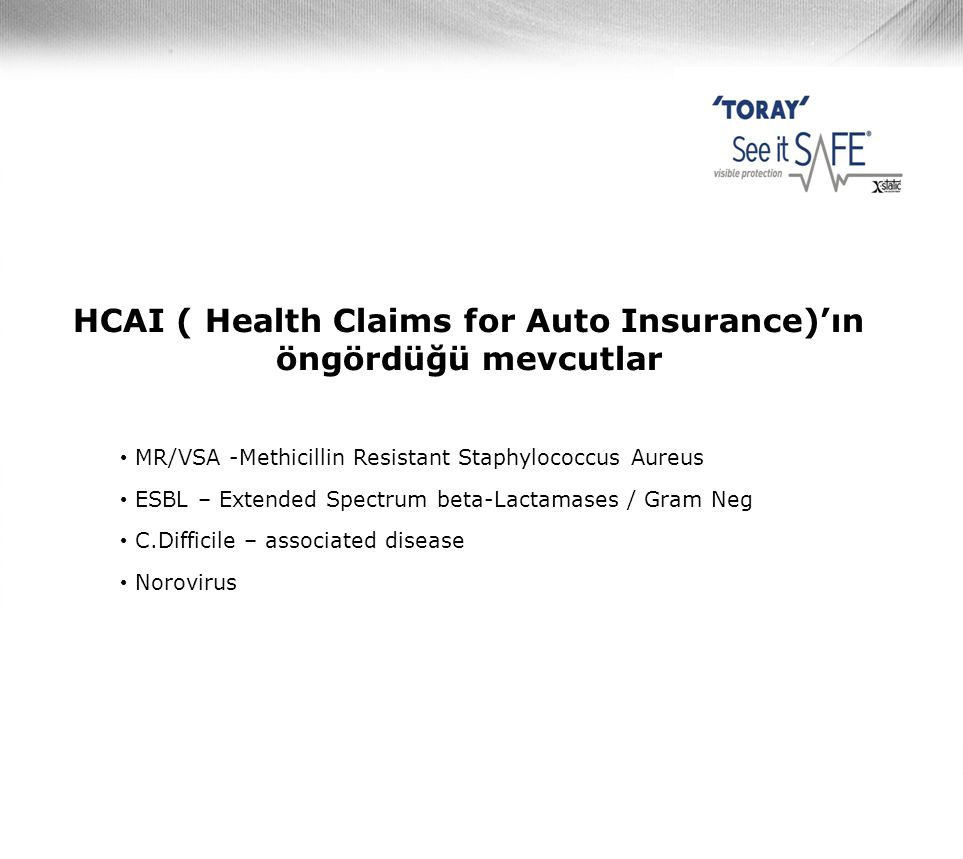 HCAI ( Health Claims for Auto Insurance)'ın öngördüğü mevcutlar