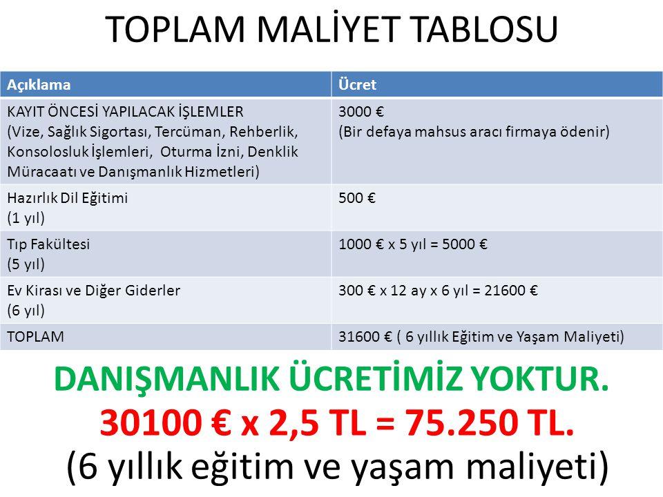 TOPLAM MALİYET TABLOSU