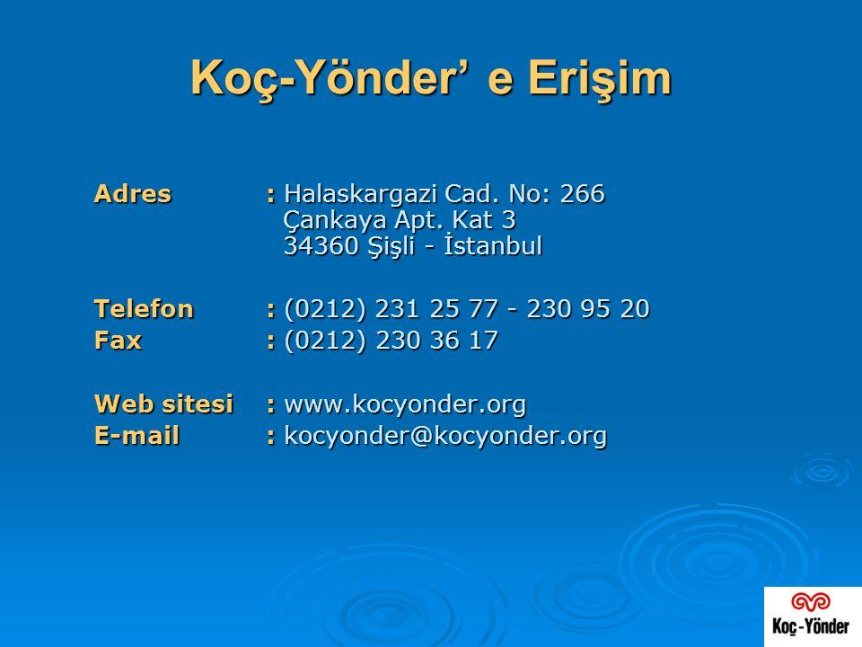 Koç-Yönder' e Erişim Adres : Halaskargazi Cad. No: 266 Çankaya Apt. Kat 3 34360 Şişli - İstanbul.