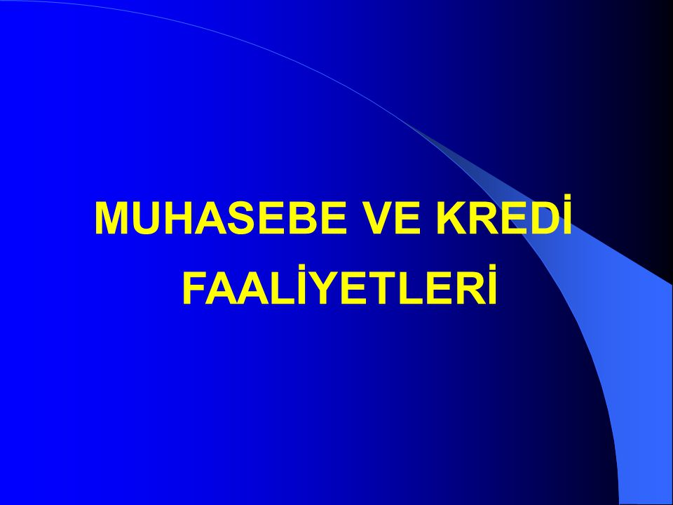 MUHASEBE VE KREDİ FAALİYETLERİ