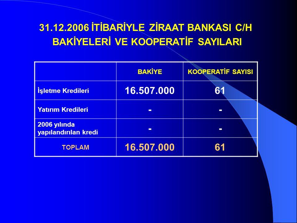 31.12.2006 İTİBARİYLE ZİRAAT BANKASI C/H