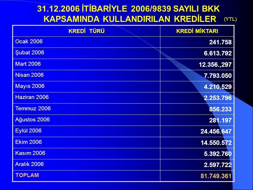 31.12.2006 İTİBARİYLE 2006/9839 SAYILI BKK