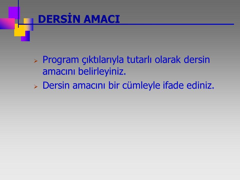 DERSİN AMACI Program çıktılarıyla tutarlı olarak dersin amacını belirleyiniz.