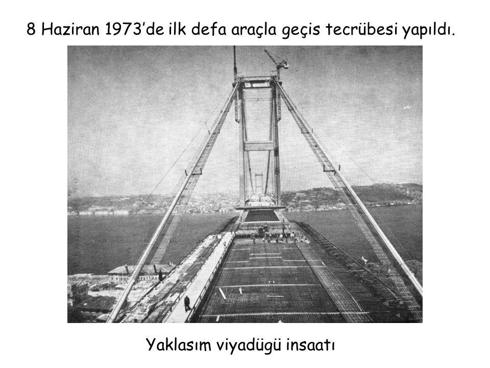 8 Haziran 1973'de ilk defa araçla geçis tecrübesi yapıldı.