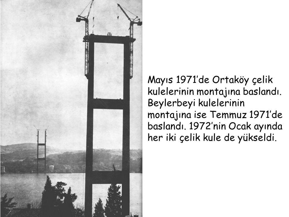 Mayıs 1971'de Ortaköy çelik kulelerinin montajına baslandı