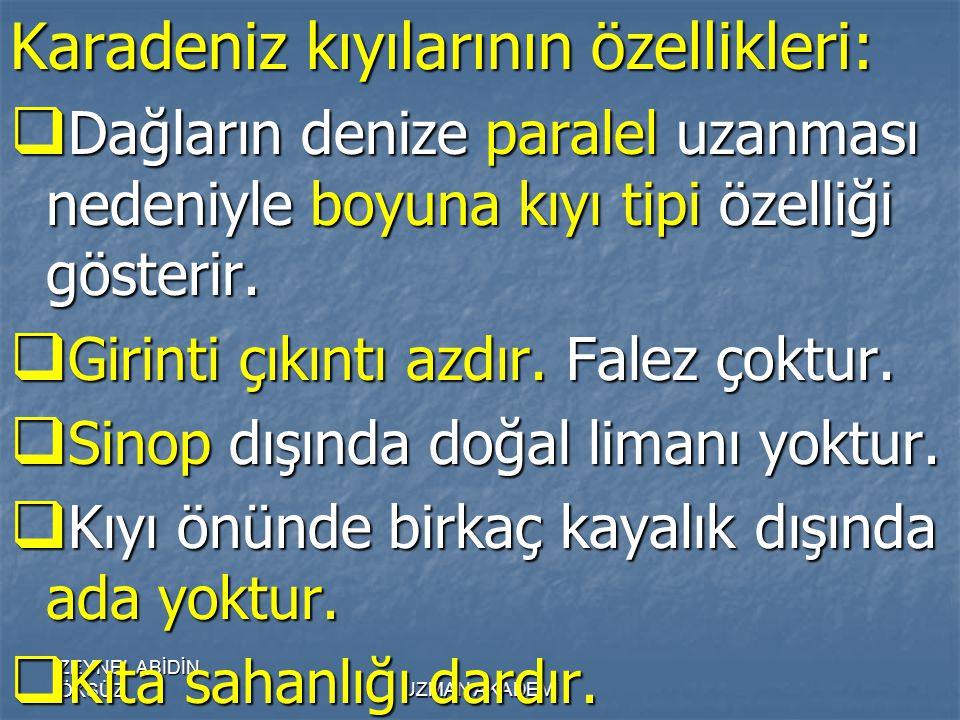 Karadeniz kıyılarının özellikleri: