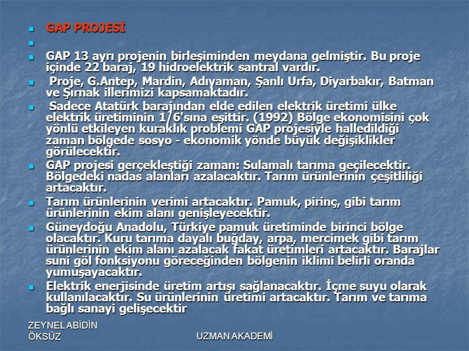 GAP PROJESİ GAP 13 ayrı projenin birleşiminden meydana gelmiştir. Bu proje içinde 22 baraj, 19 hidroelektrik santral vardır.