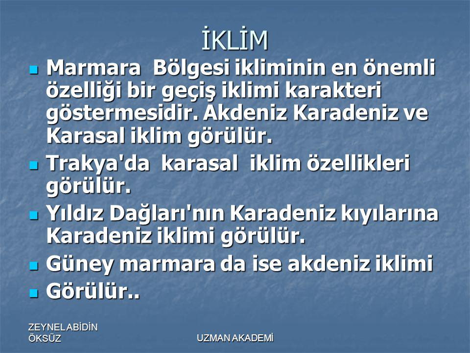 İKLİM Marmara Bölgesi ikliminin en önemli özelliği bir geçiş iklimi karakteri göstermesidir. Akdeniz Karadeniz ve Karasal iklim görülür.