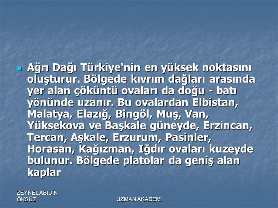 Ağrı Dağı Türkiye nin en yüksek noktasını oluşturur