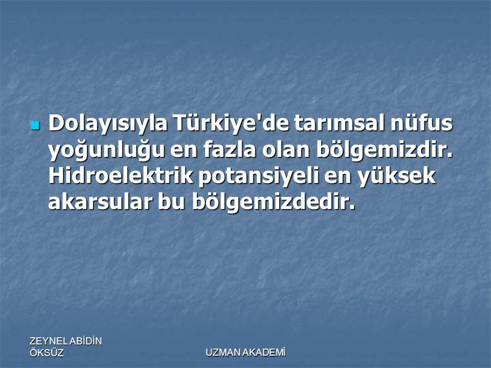 Dolayısıyla Türkiye de tarımsal nüfus yoğunluğu en fazla olan bölgemizdir. Hidroelektrik potansiyeli en yüksek akarsular bu bölgemizdedir.