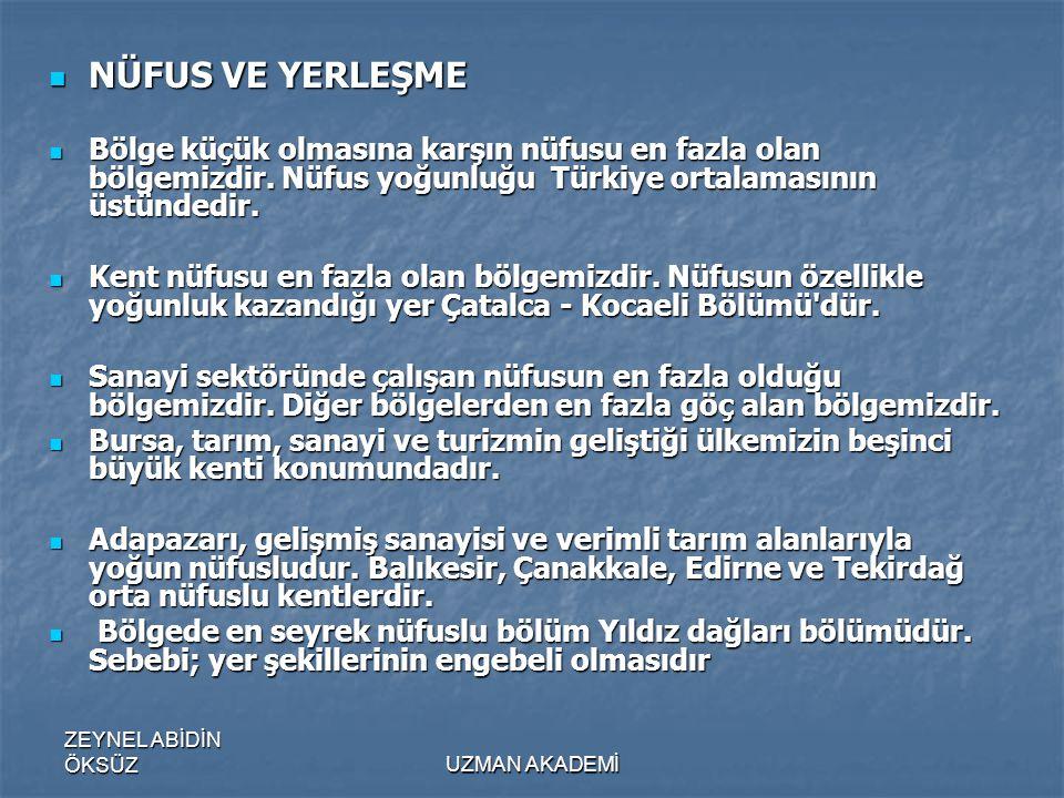 NÜFUS VE YERLEŞME Bölge küçük olmasına karşın nüfusu en fazla olan bölgemizdir. Nüfus yoğunluğu Türkiye ortalamasının üstündedir.