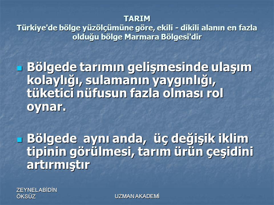 TARIM Türkiye de bölge yüzölçümüne göre, ekili - dikili alanın en fazla olduğu bölge Marmara Bölgesi dir