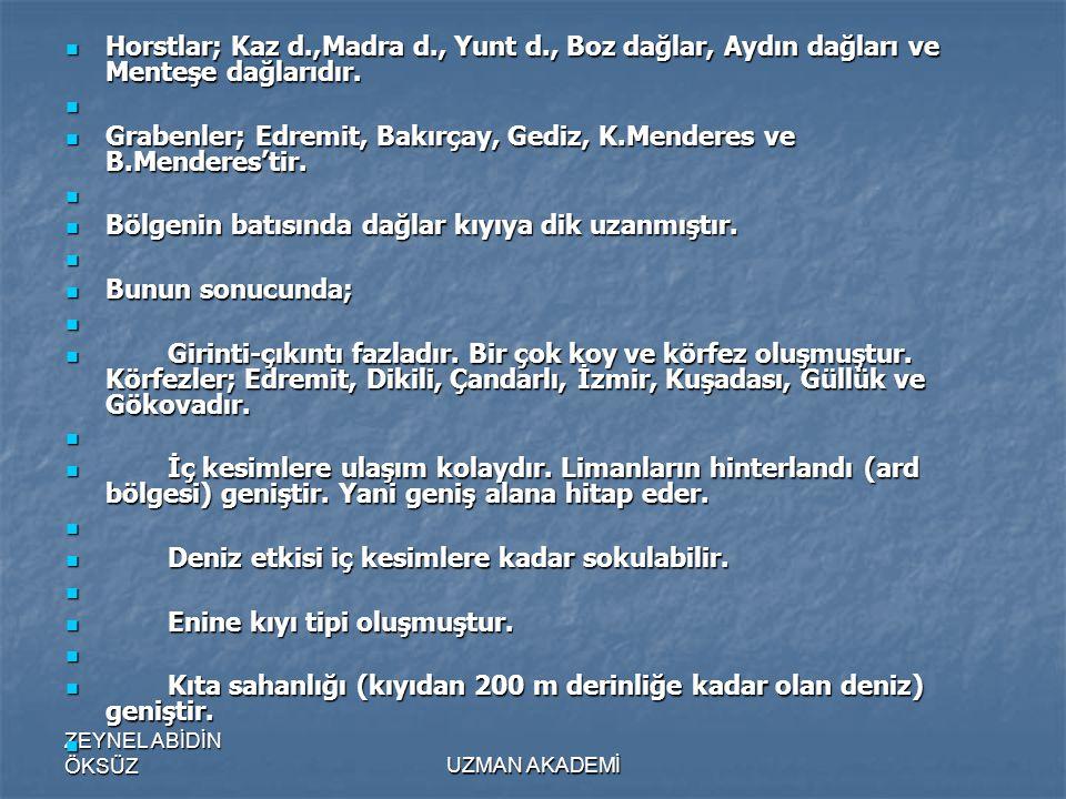 Grabenler; Edremit, Bakırçay, Gediz, K.Menderes ve B.Menderes'tir.