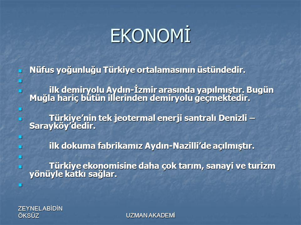 EKONOMİ Nüfus yoğunluğu Türkiye ortalamasının üstündedir.