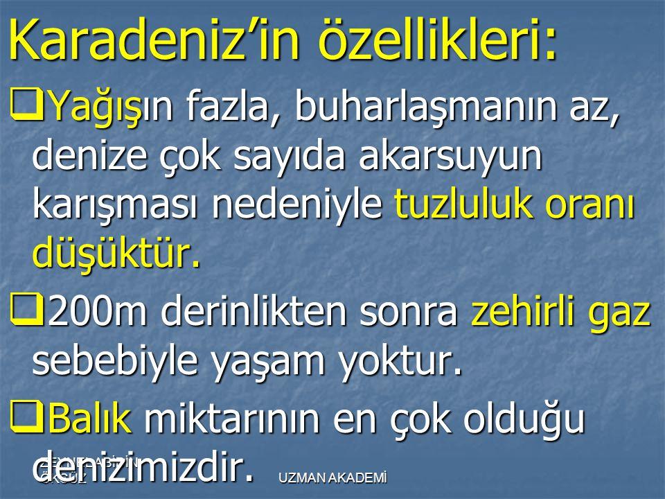Karadeniz'in özellikleri: