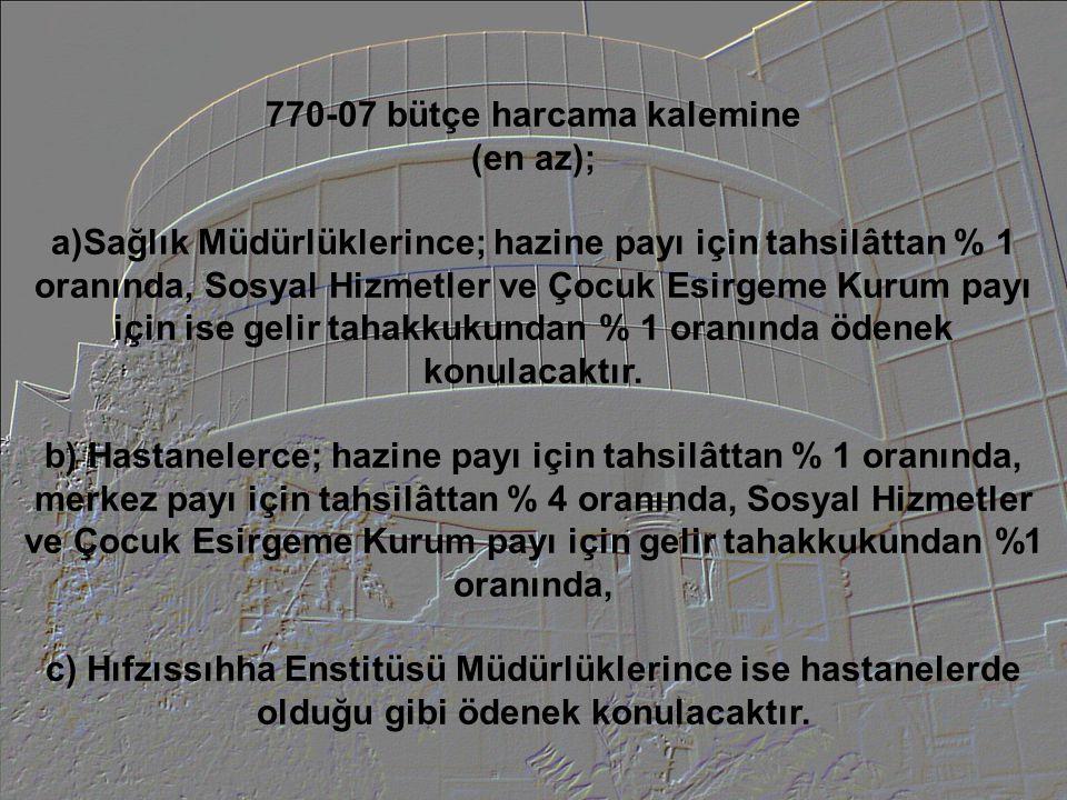 770-07 bütçe harcama kalemine