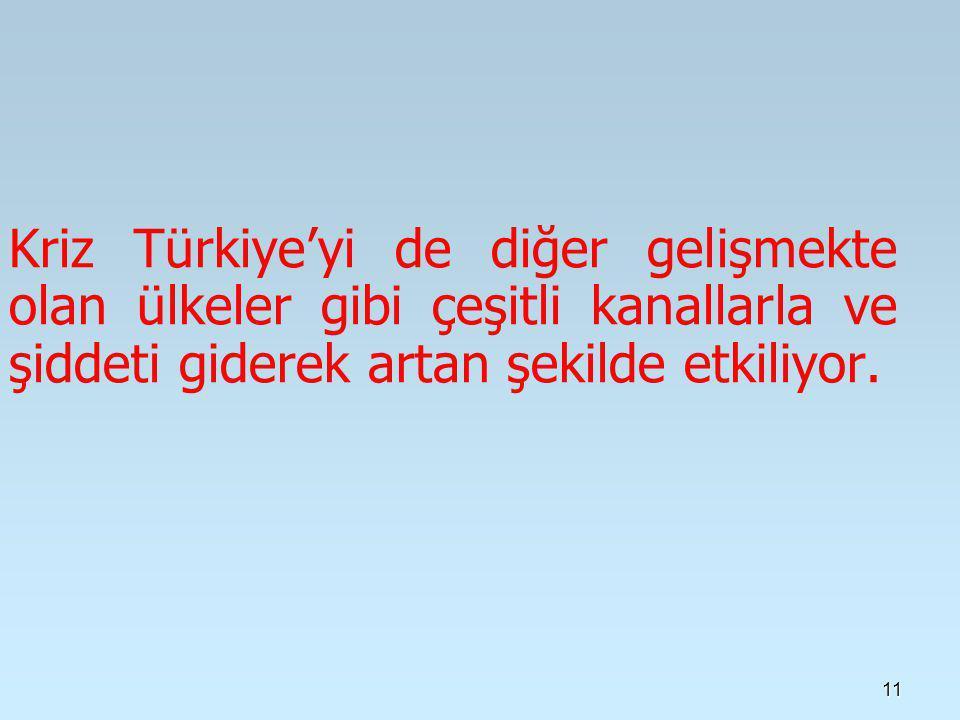 Kriz Türkiye'yi de diğer gelişmekte olan ülkeler gibi çeşitli kanallarla ve şiddeti giderek artan şekilde etkiliyor.