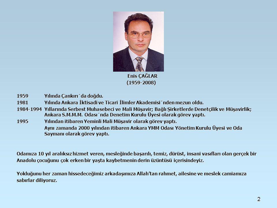 Enis ÇAĞLAR (1959-2008) 1959 Yılında Çankırı´da doğdu. 1981 Yılında Ankara İktisadi ve Ticari İlimler Akademisi´nden mezun oldu.
