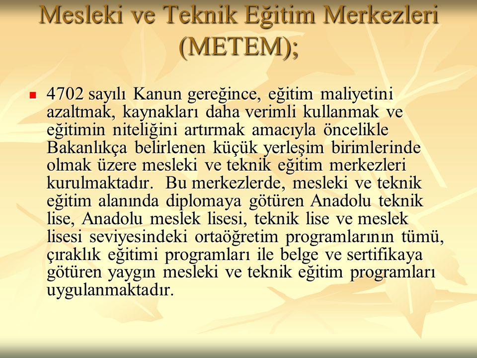 Mesleki ve Teknik Eğitim Merkezleri (METEM);