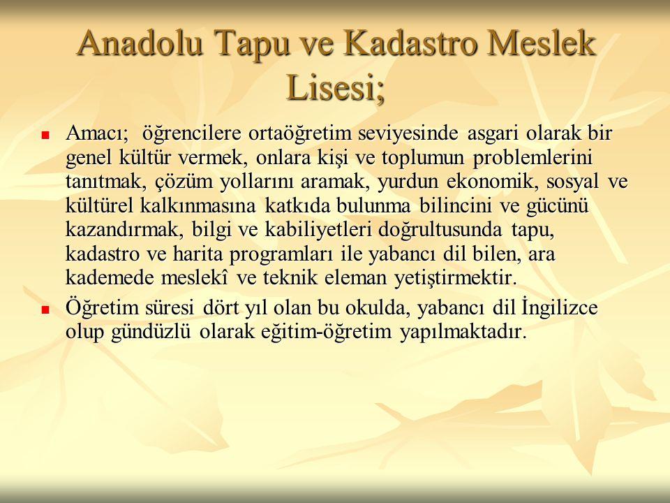 Anadolu Tapu ve Kadastro Meslek Lisesi;