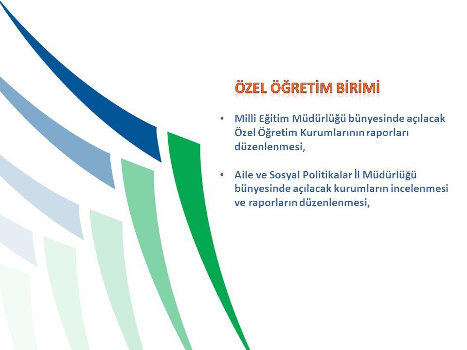 ÖZEL ÖĞRETİM BİRİMİ Milli Eğitim Müdürlüğü bünyesinde açılacak Özel Öğretim Kurumlarının raporları düzenlenmesi,