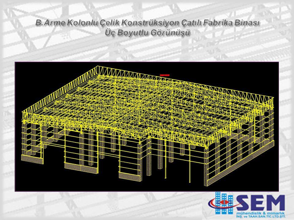 B.Arme Kolonlu Çelik Konstrüksiyon Çatılı Fabrika Binası Üç Boyutlu Görünüşü
