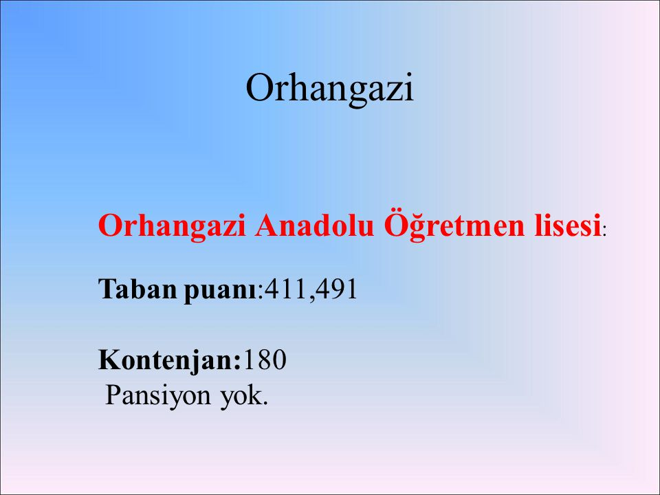 Orhangazi Orhangazi Anadolu Öğretmen lisesi: Taban puanı:411,491