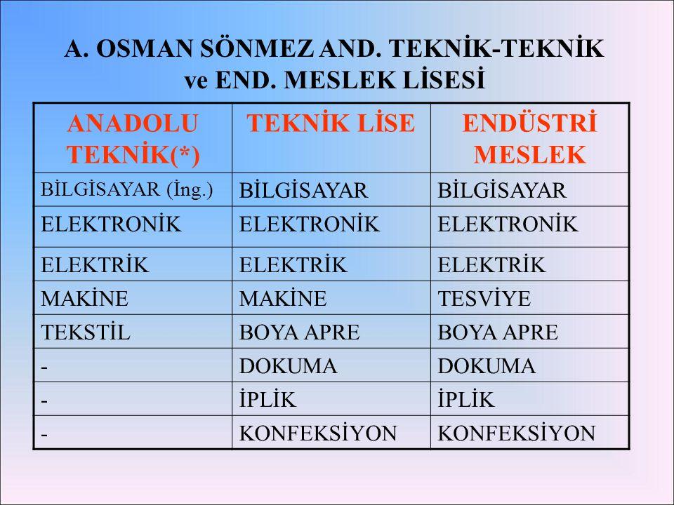 A. OSMAN SÖNMEZ AND. TEKNİK-TEKNİK ve END. MESLEK LİSESİ