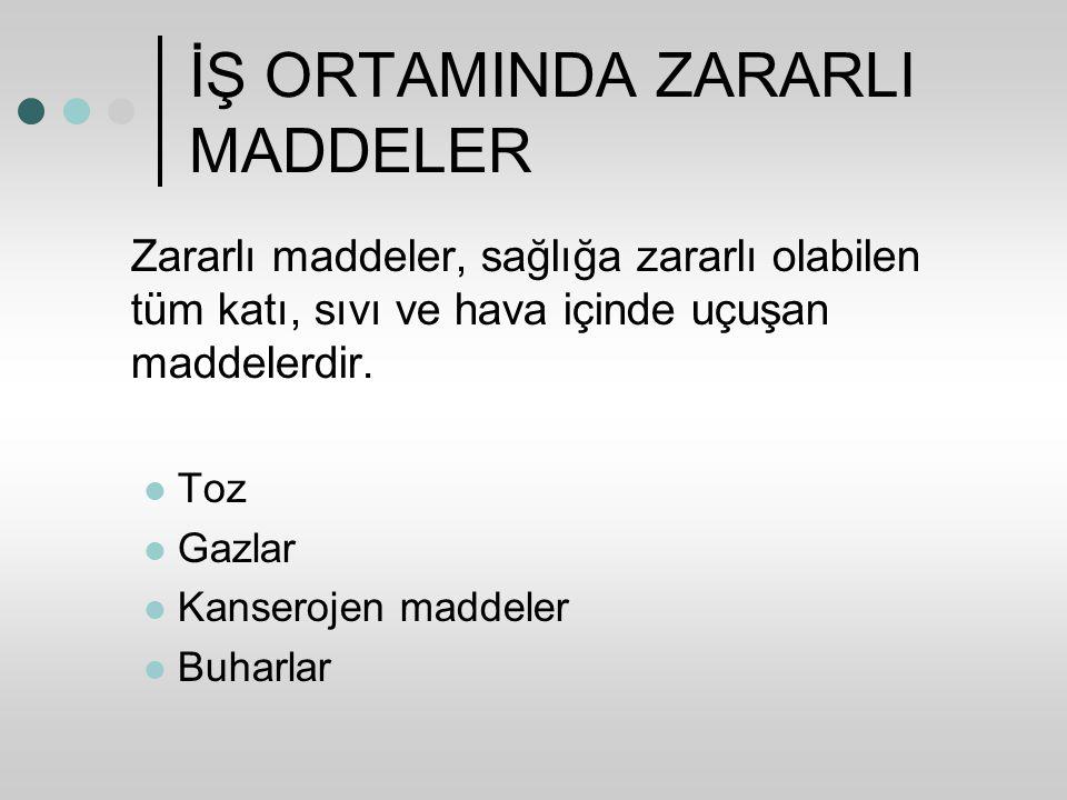 İŞ ORTAMINDA ZARARLI MADDELER