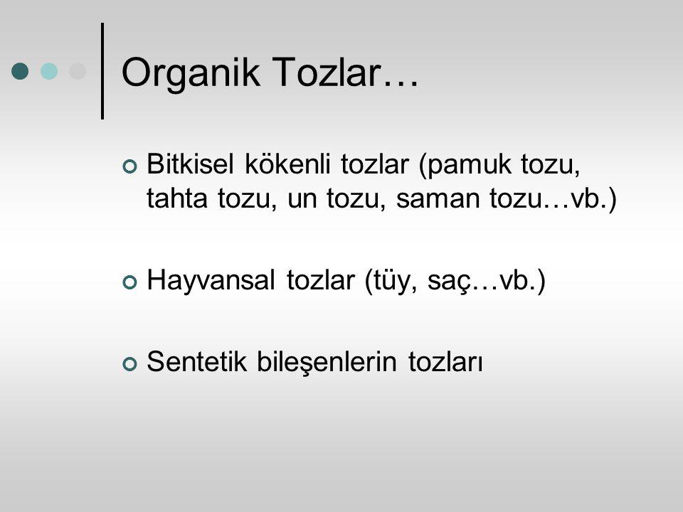 Organik Tozlar… Bitkisel kökenli tozlar (pamuk tozu, tahta tozu, un tozu, saman tozu…vb.) Hayvansal tozlar (tüy, saç…vb.)