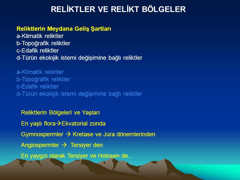 RELİKTLER VE RELİKT BÖLGELER