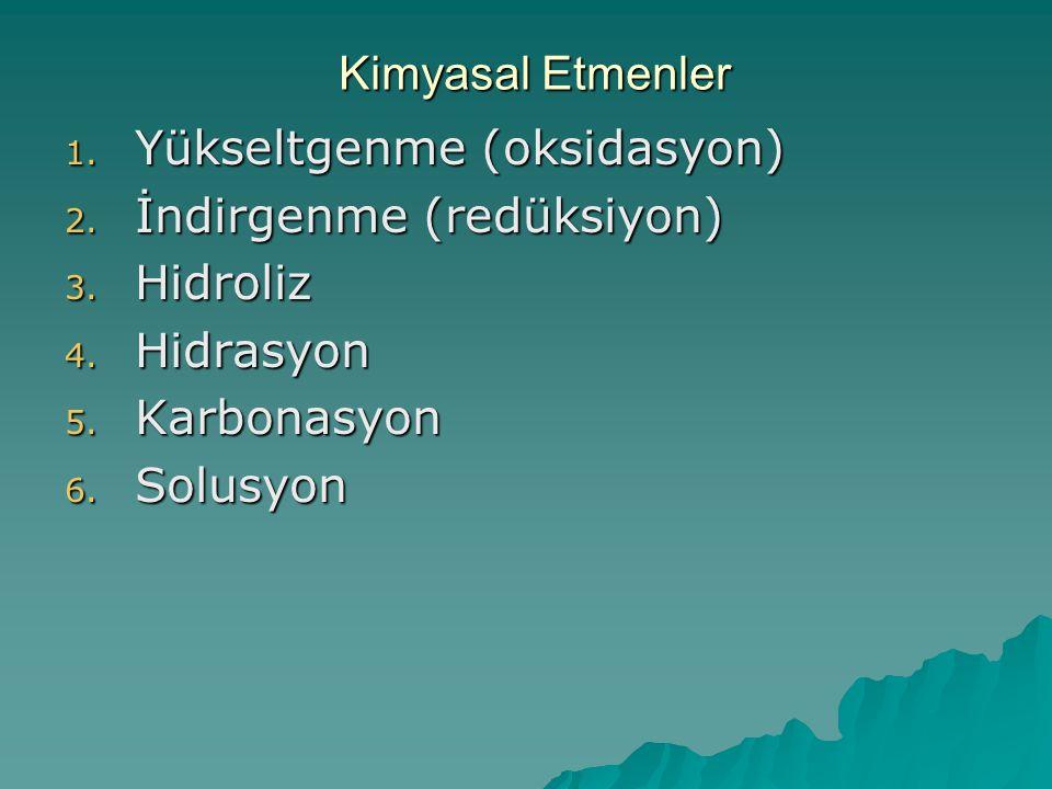 Kimyasal Etmenler Yükseltgenme (oksidasyon) İndirgenme (redüksiyon) Hidroliz. Hidrasyon. Karbonasyon.