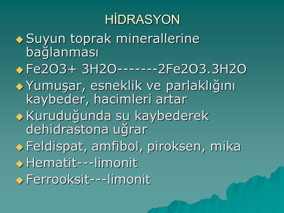 HİDRASYON Suyun toprak minerallerine bağlanması. Fe2O3+ 3H2O-------2Fe2O3.3H2O. Yumuşar, esneklik ve parlaklığını kaybeder, hacimleri artar.