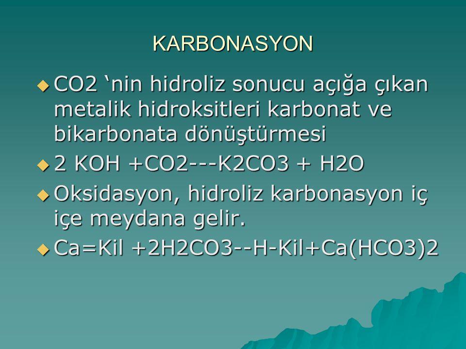 KARBONASYON CO2 'nin hidroliz sonucu açığa çıkan metalik hidroksitleri karbonat ve bikarbonata dönüştürmesi.