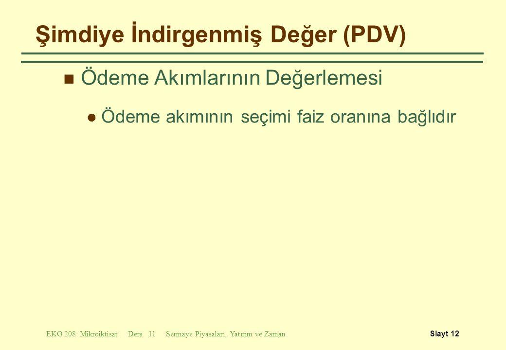 Şimdiye İndirgenmiş Değer (PDV)