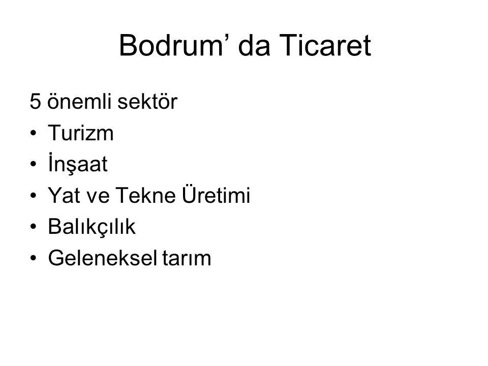 Bodrum' da Ticaret 5 önemli sektör Turizm İnşaat Yat ve Tekne Üretimi